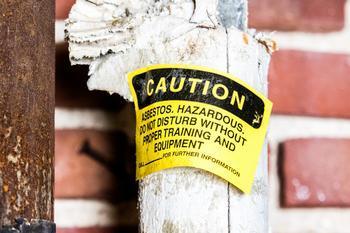 Photo of asbestos sign