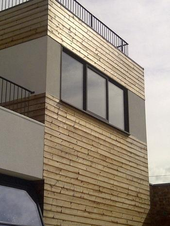 Wooden cladding on outside of building