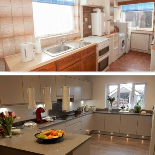 Before and after pictures of kitchen renovation