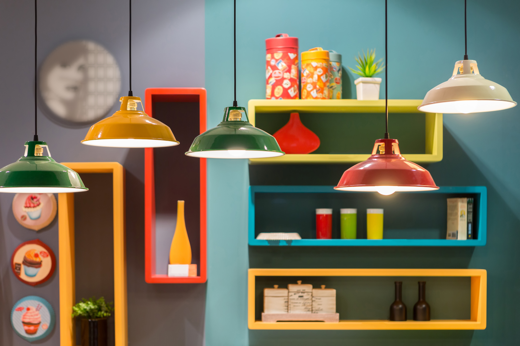 Picture of brightly coloured shelves